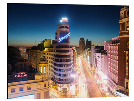 Alu-Dibond  Gran Via shopping street and city of Madrid at night - Matteo Colombo