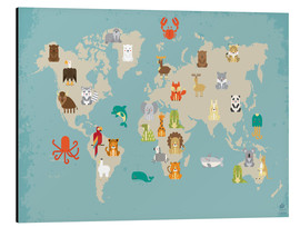 Aluminium print  World map with animals - Petit Griffin