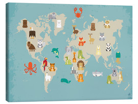 Canvas  World map with animals for the nursery - Petit Griffin