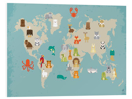 Foam board print  World map with animals - Petit Griffin