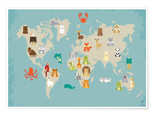 Poster World map with animals for the nursery