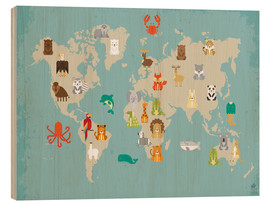 Wood  World map with animals for the nursery - Petit Griffin