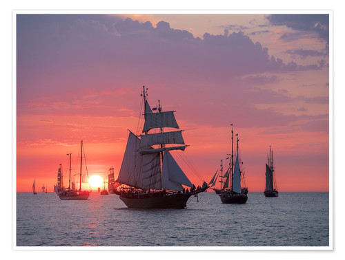 Premium poster Sailing ships on the Baltic Sea in the evening