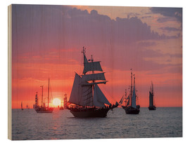 Wood  Sailing ships on the Baltic Sea in the evening - Rico Ködder