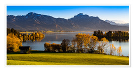 Premium poster Lake in Bavaria with Alps