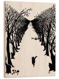 Wood print  The cat that walked by himself - Rudyard Kipling