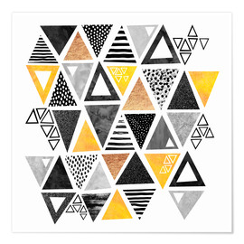 Premium poster  Triangle abstract   Black and yellow - Elisabeth Fredriksson