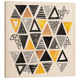 Wood print  Triangle abstract   Black and yellow - Elisabeth Fredriksson