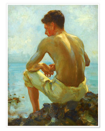 Premium poster  Rowing in the shade - Henry Scott Tuke