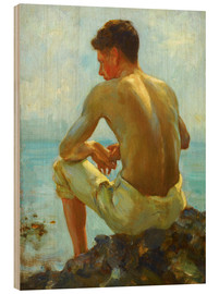 Wood print  Rowing in the shade - Henry Scott Tuke
