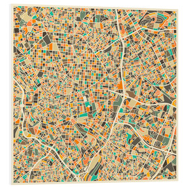 Foam board print  Madrid map - Jazzberry Blue