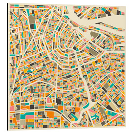Aluminium print  Map of Amsterdam - Jazzberry Blue