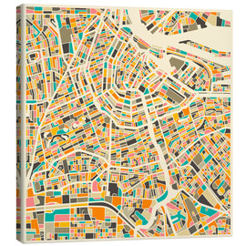 Canvas  Map of Amsterdam - Jazzberry Blue