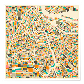 Poster  Map of Amsterdam - Jazzberry Blue
