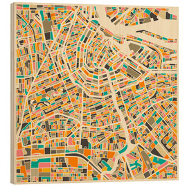 Wood print  Map of Amsterdam - Jazzberry Blue