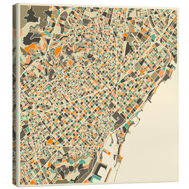 Canvas  Barcelona Map - Jazzberry Blue