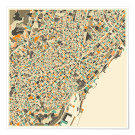 Premium poster  Barcelona map - Jazzberry Blue