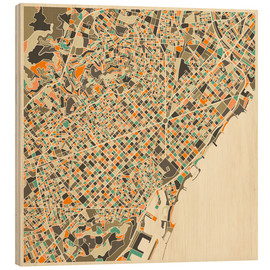 Wood print  Barcelona map - Jazzberry Blue