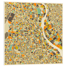 Foam board print  New Delhi Map - Jazzberry Blue