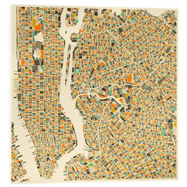 Acrylic print  New York map colorful - Jazzberry Blue