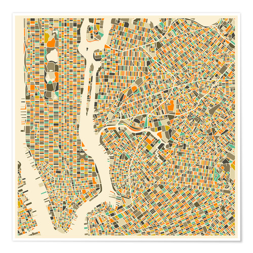 Premium poster New York map colorful