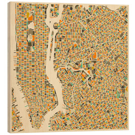 Wood  New York City Map - Jazzberry Blue