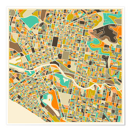 Premium poster  Melbourne Map - Jazzberry Blue