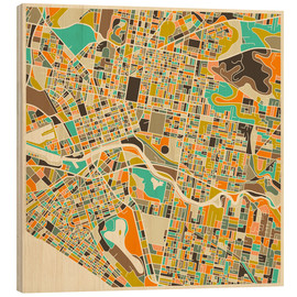 Wood print  Melbourne Map - Jazzberry Blue