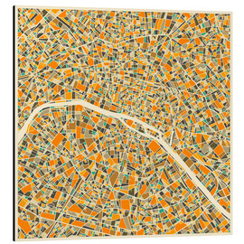 Aluminium print  Paris map colorful - Jazzberry Blue