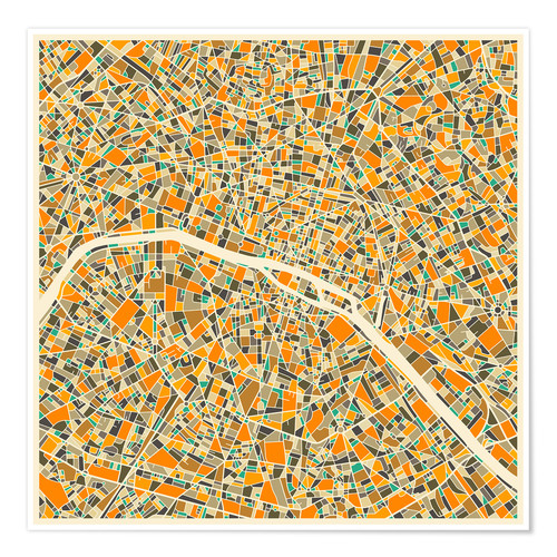 Premium poster Paris map colorful