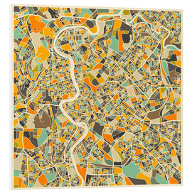 Foam board print  Rome Map - Jazzberry Blue