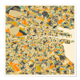 Premium poster  Dublin Map - Jazzberry Blue