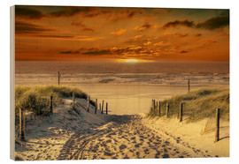 Wood print  To the beach, through the dunes. - Peter Roder