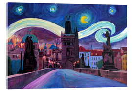Acrylic print  Starry Night in Prague   Van Gogh Inspirations on Charles Bridge in Czech Republic - M. Bleichner