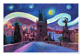 Premium poster Starry Night in Prague   Van Gogh Inspirations on Charles Bridge in Czech Republic