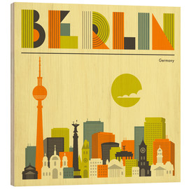 Wood print  Skyline of Berlin - Jazzberry Blue