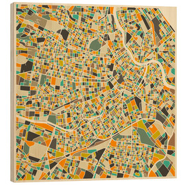 Wood print  Vienna Map - Jazzberry Blue