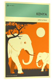 Acrylic glass  Kenya Travel Poster - Jazzberry Blue