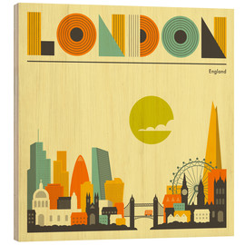 Wood  London Skyline - Jazzberry Blue
