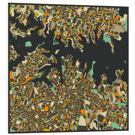 Foam board print  Sydney Map - Jazzberry Blue