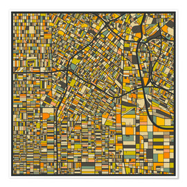 Premium poster  Los Angeles Map - Jazzberry Blue