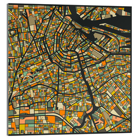 Acrylic glass  Amsterdam Map - Jazzberry Blue