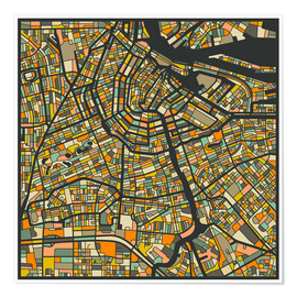 Premium poster  Amsterdam Map - Jazzberry Blue