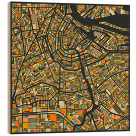 Wood print  Amsterdam Map - Jazzberry Blue