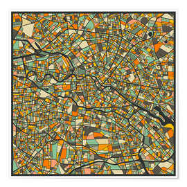Premium poster  Berlin Map - Jazzberry Blue