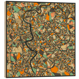 Wood print  Rome Map - Jazzberry Blue