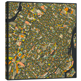 Canvas  Montreal Map - Jazzberry Blue