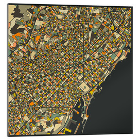 Acrylic print  Barcelona map - Jazzberry Blue