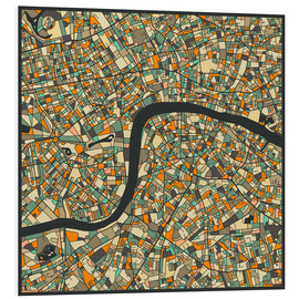 Foam board print  London Map - Jazzberry Blue