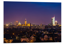 Foam board print  Leipzig Skyline at night - Martin Wasilewski